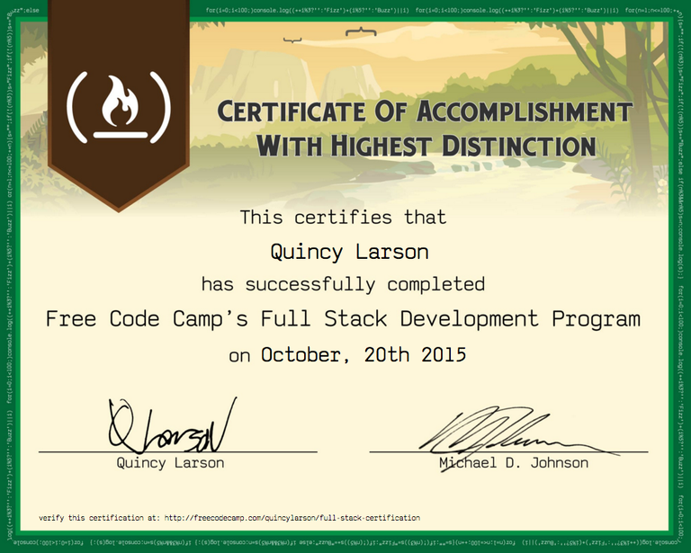Free Code Camp Full Stack Development Certification